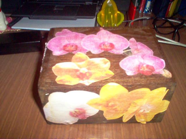 Scatola antica con orchidee